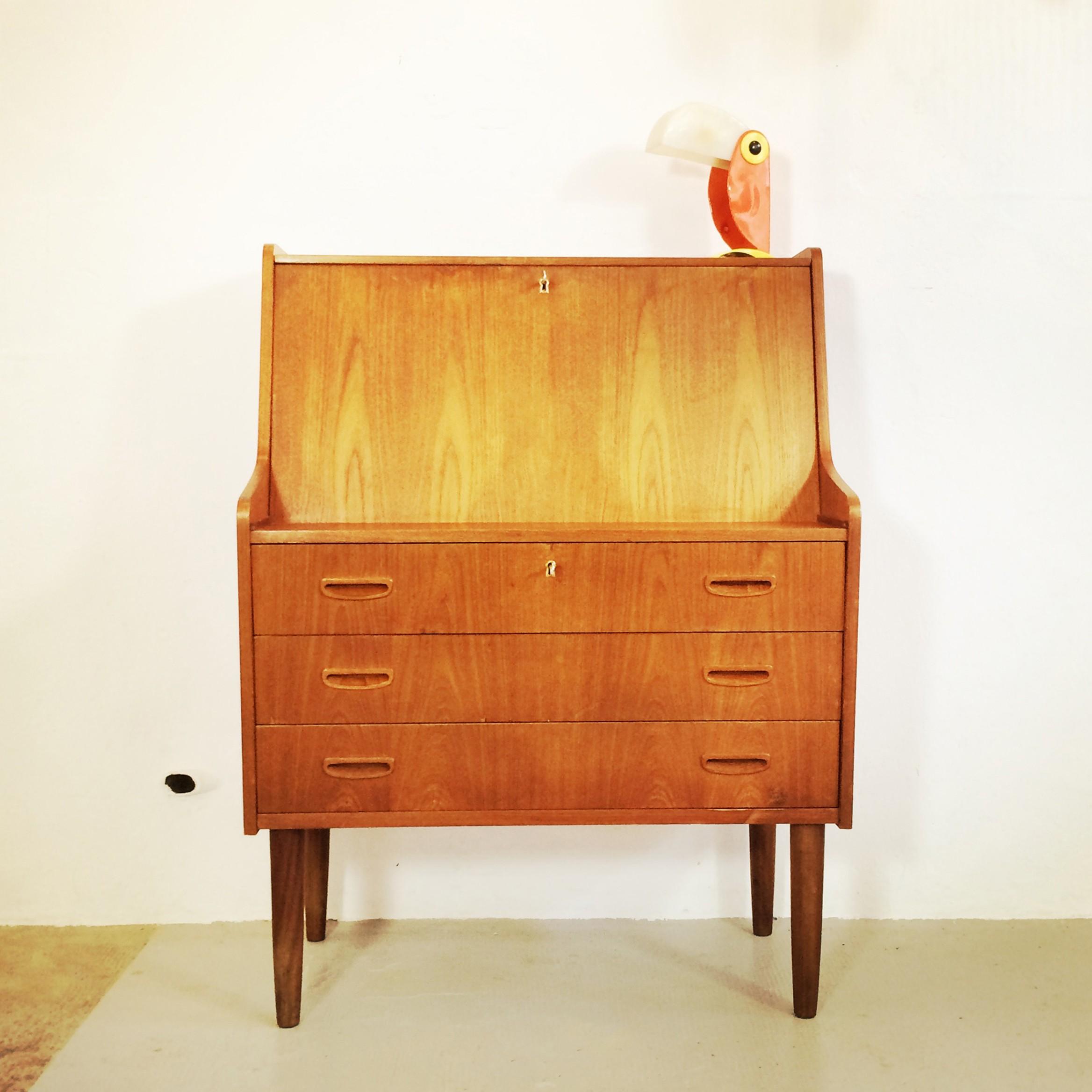 Scandinavian Secretary Desk Light Wood With 3 Drawers 1960s Previous Next