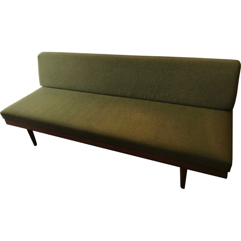 Daybed olive green fabric, 1 person- 1950s
