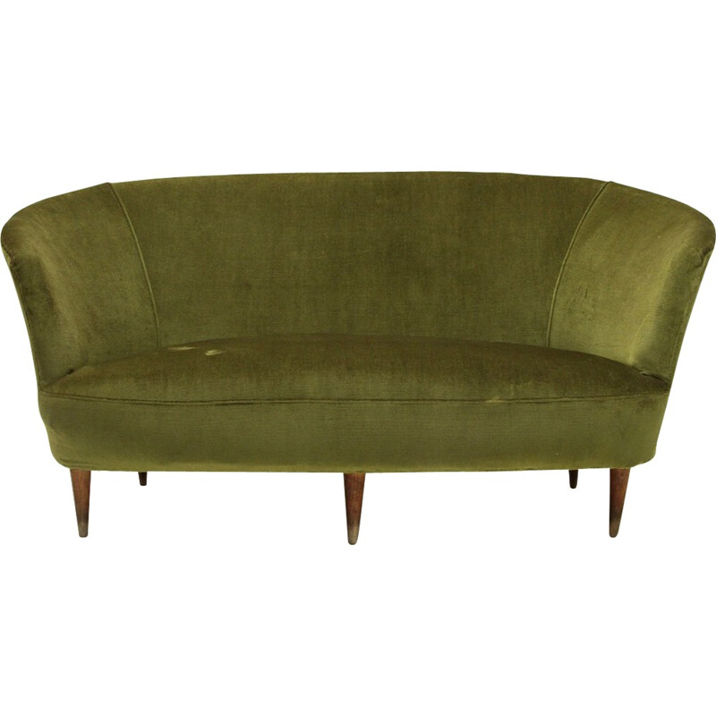 Italian Green Velvet Sofa with conical shaped legs - 1940s