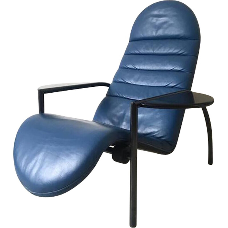 Adjustable blue easy chair in leather and metal by Ammanati and Vitelli for Moroso - 1980s