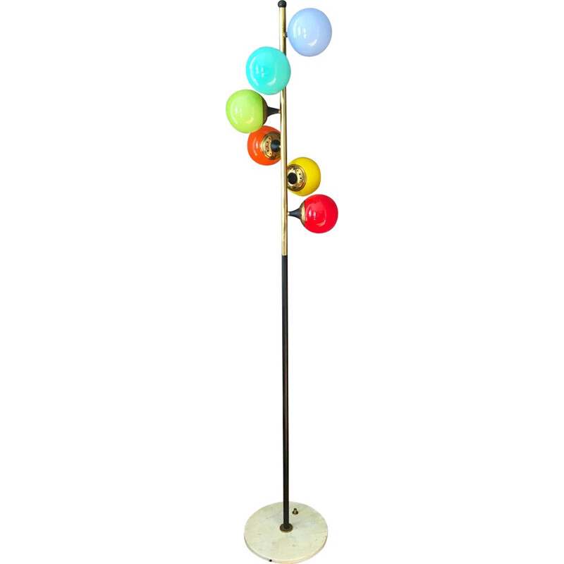 Multicoloured mid-century floor lamp in glass and brass produced by Stilnovo - 1960s