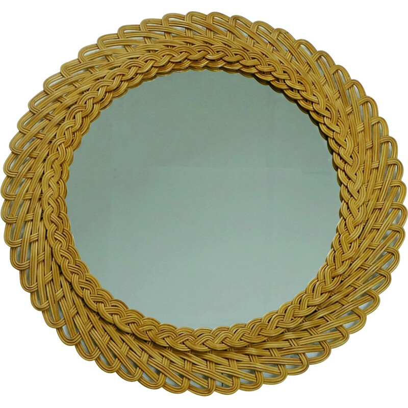 Round wall mirror in rattan - 1950s
