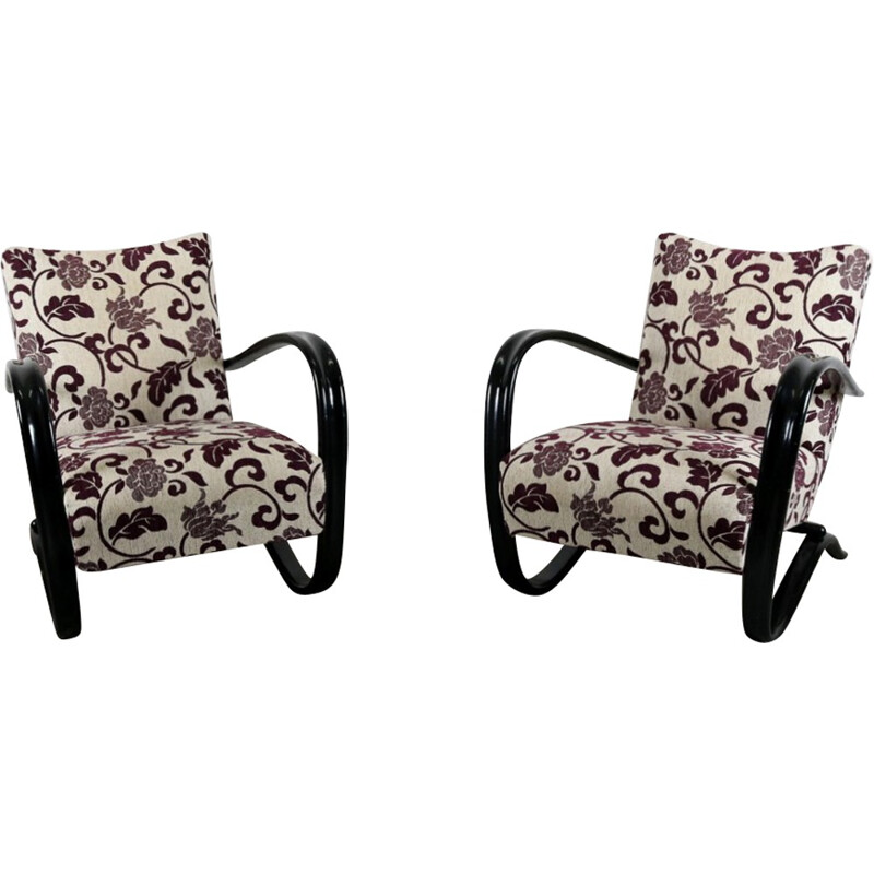 Pair of purple easy chairs by Jindrich Halabala - 1940s