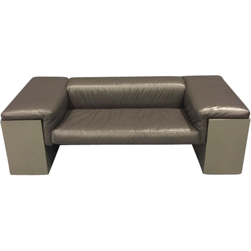 2-seater grey sofa in leather model Brigadier by Cini Boeri produced by Knoll - 1970s
