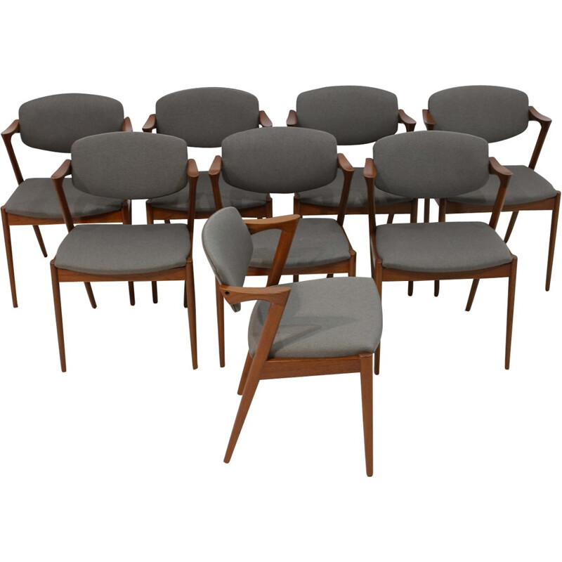 Set of 8 dining Chairs grey seat and wooden frame by Kai Kristiansen - 1950s