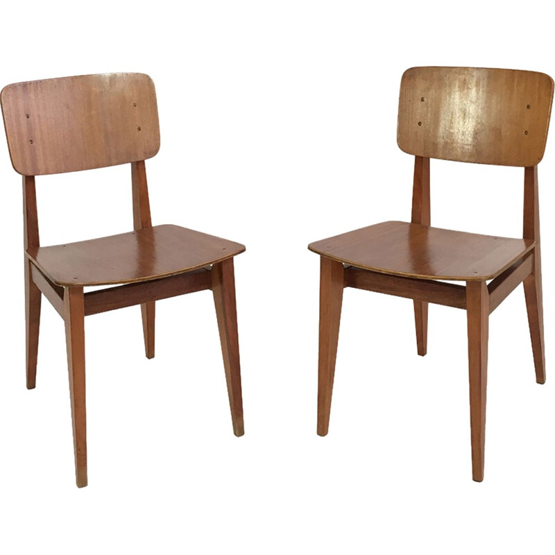 Suite of 2 chairs by Marcel Gascoin, Arhec - 1950s