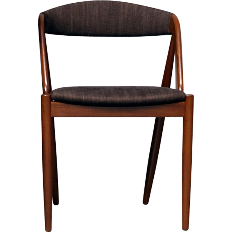 Set of 4 teak dining chairs with a brown fabrik by Kai Kristiansen - 1960s