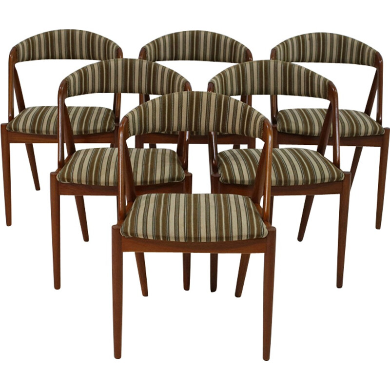 Set of 6 teak chairs with a green striped fabric by Kai Kristiansen - 1960s