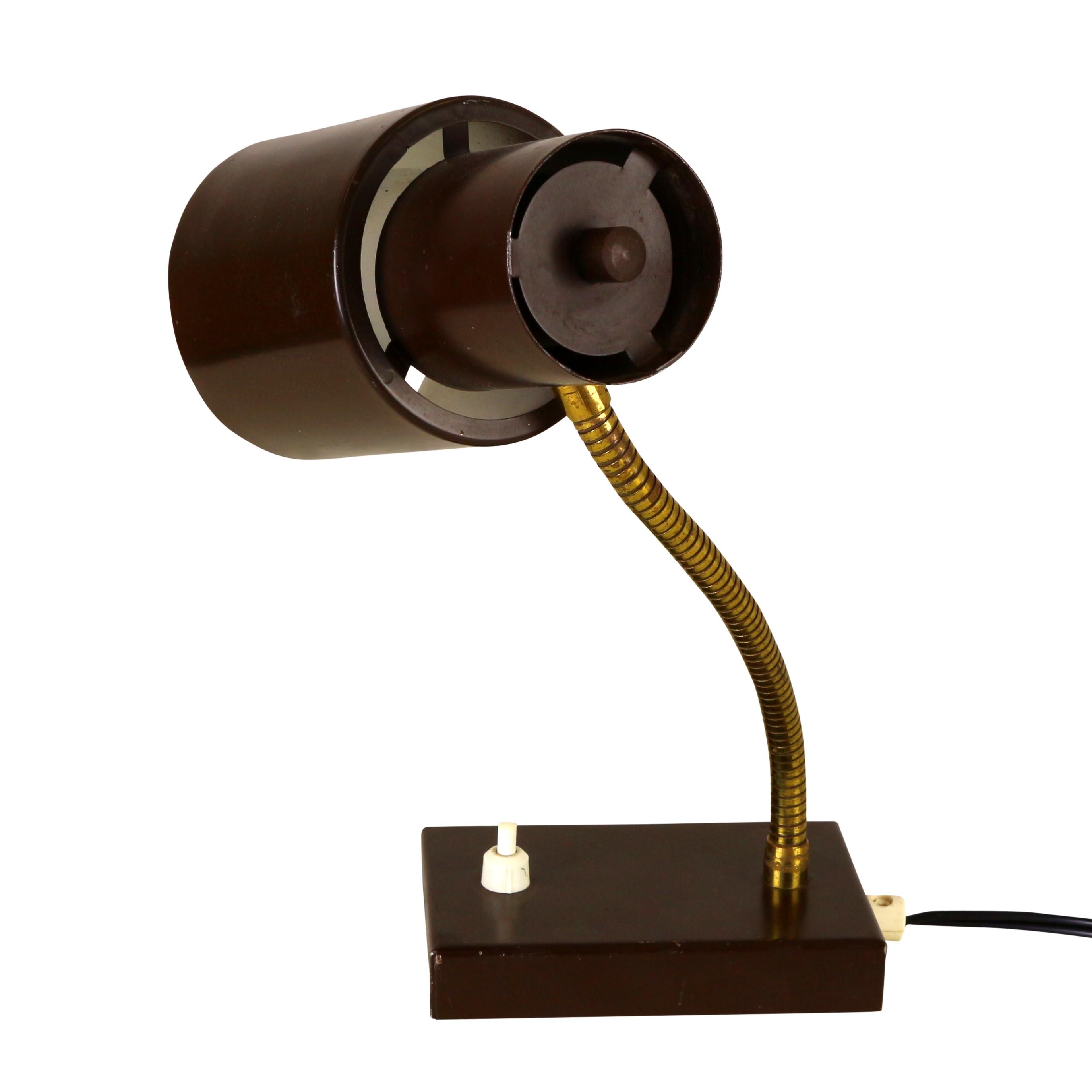 Dark Brown Desk Lamp In Metal 1960s Previous Next