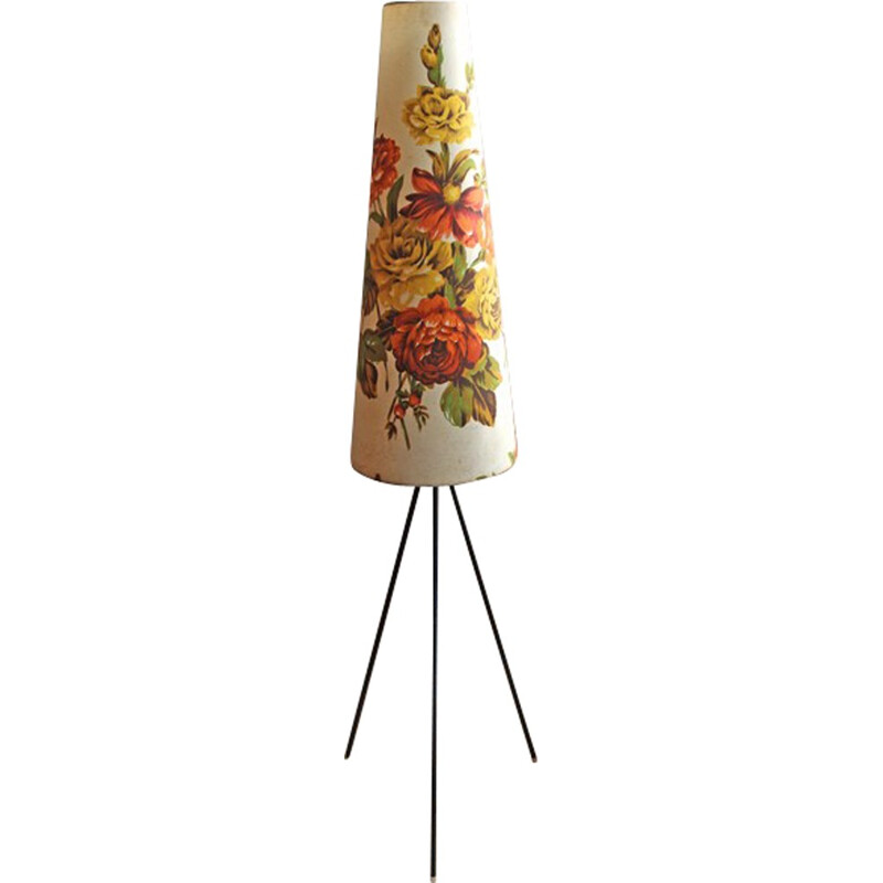 Tripod floor lamp shade decored with flowers - 1950s