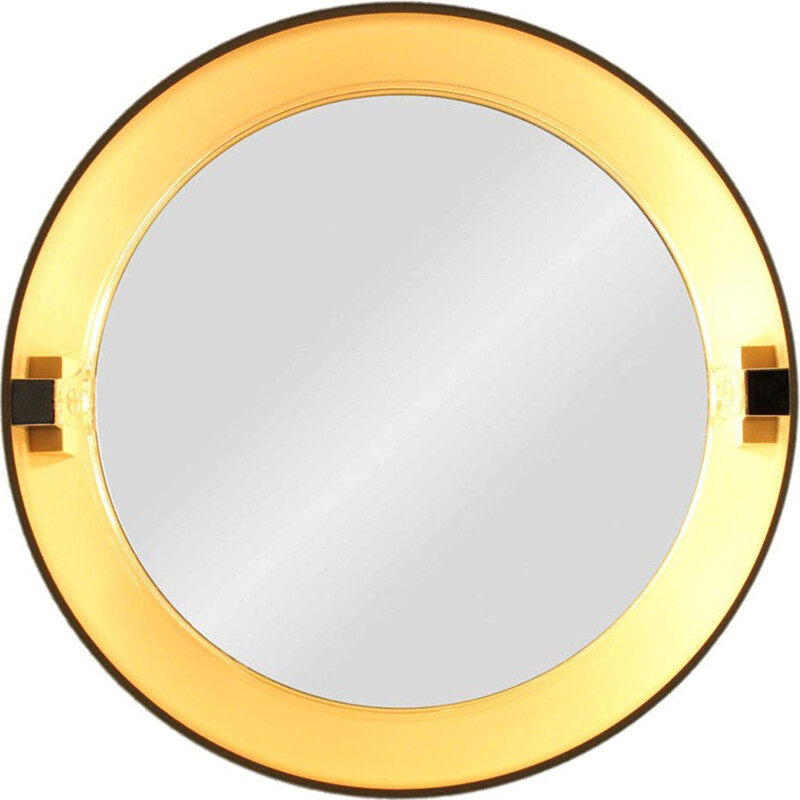 Vintage round wall mirror with lights - 1970s