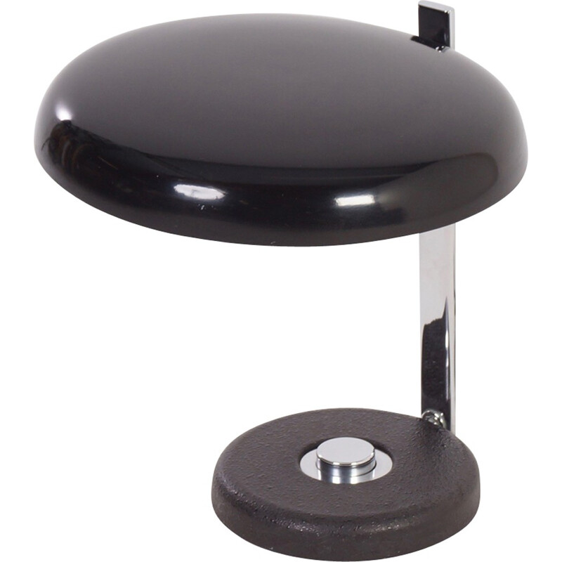 Oslo black desk lamp in metal and chromium by Heinz PFAENDER from Hillebrand - 1960s