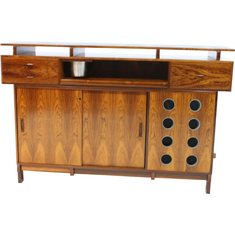 Rosewood Dry Bar Cabinet And 4 Bar Stools From Dyrlund   1960s