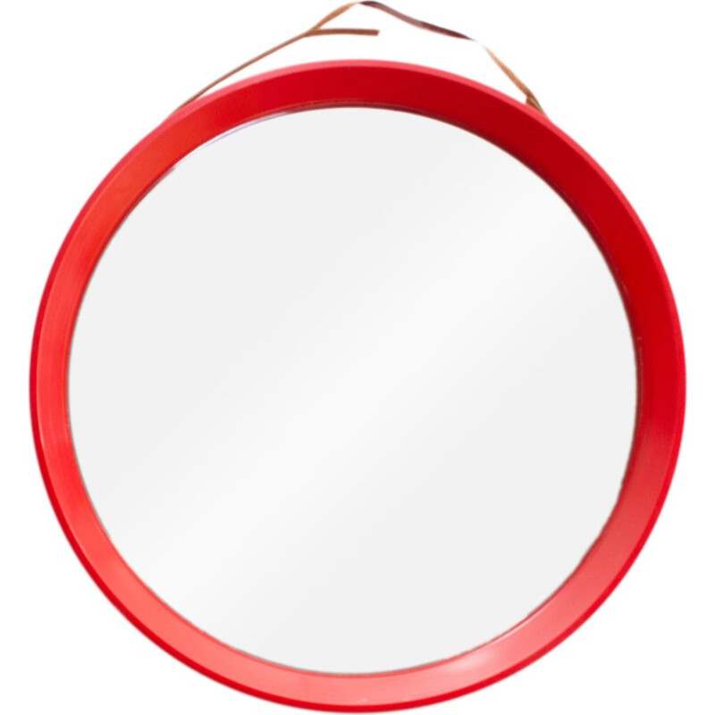 Round wall mirror produced in Denmark - 1970s