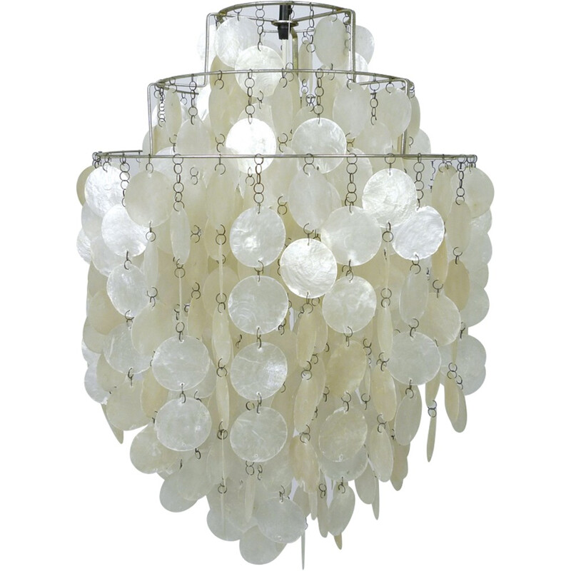 Mother of Pearl chandelier by Verner Panton for J. Lüber, 1960s