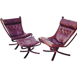 "Pair of ""Falcon"" armchairs and ottoman, Sigur RESSELL - 1960s"