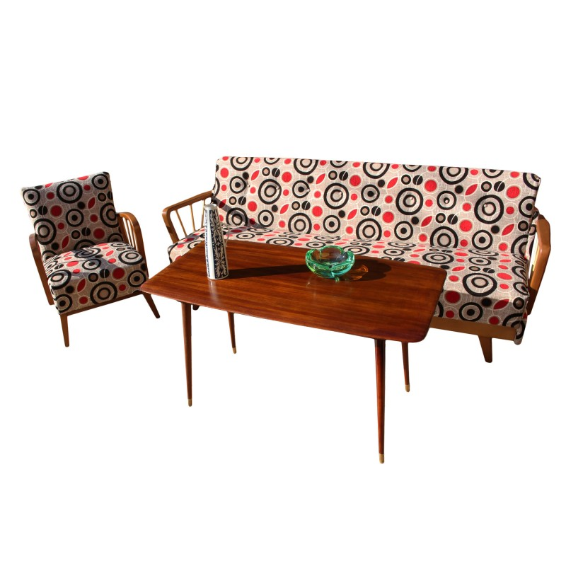 E Age Sofa With Patterned Fabric Germany 1950s
