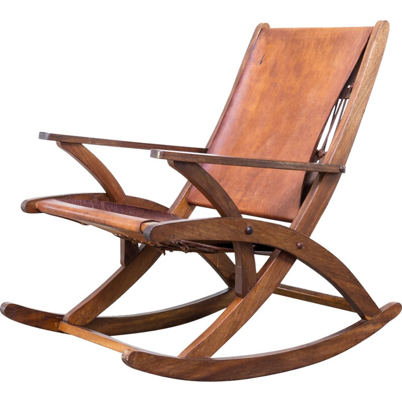 Mid Century oak and saddle leather rocking chair - 1960s