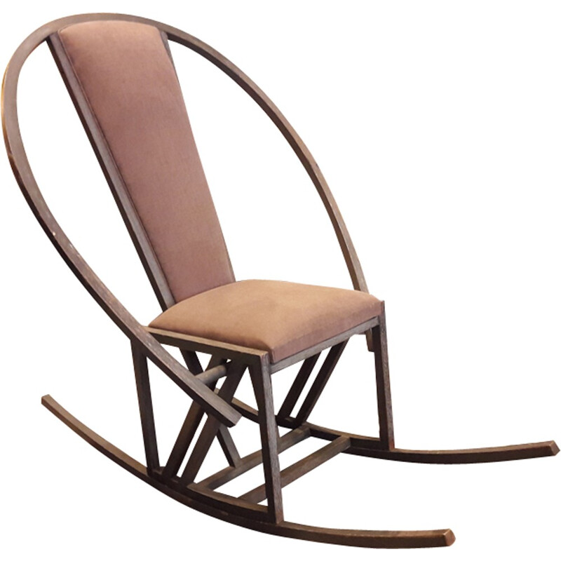 Large rocking chair in beechwood by Pascal Mourgue - 1980s