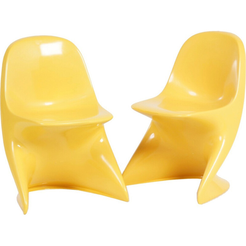Pair of Casalino childrens yellow chair by Alexander Begge for Casala - 1970s