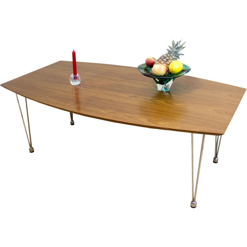 Coffee table in wood and stainless steel - 1960s