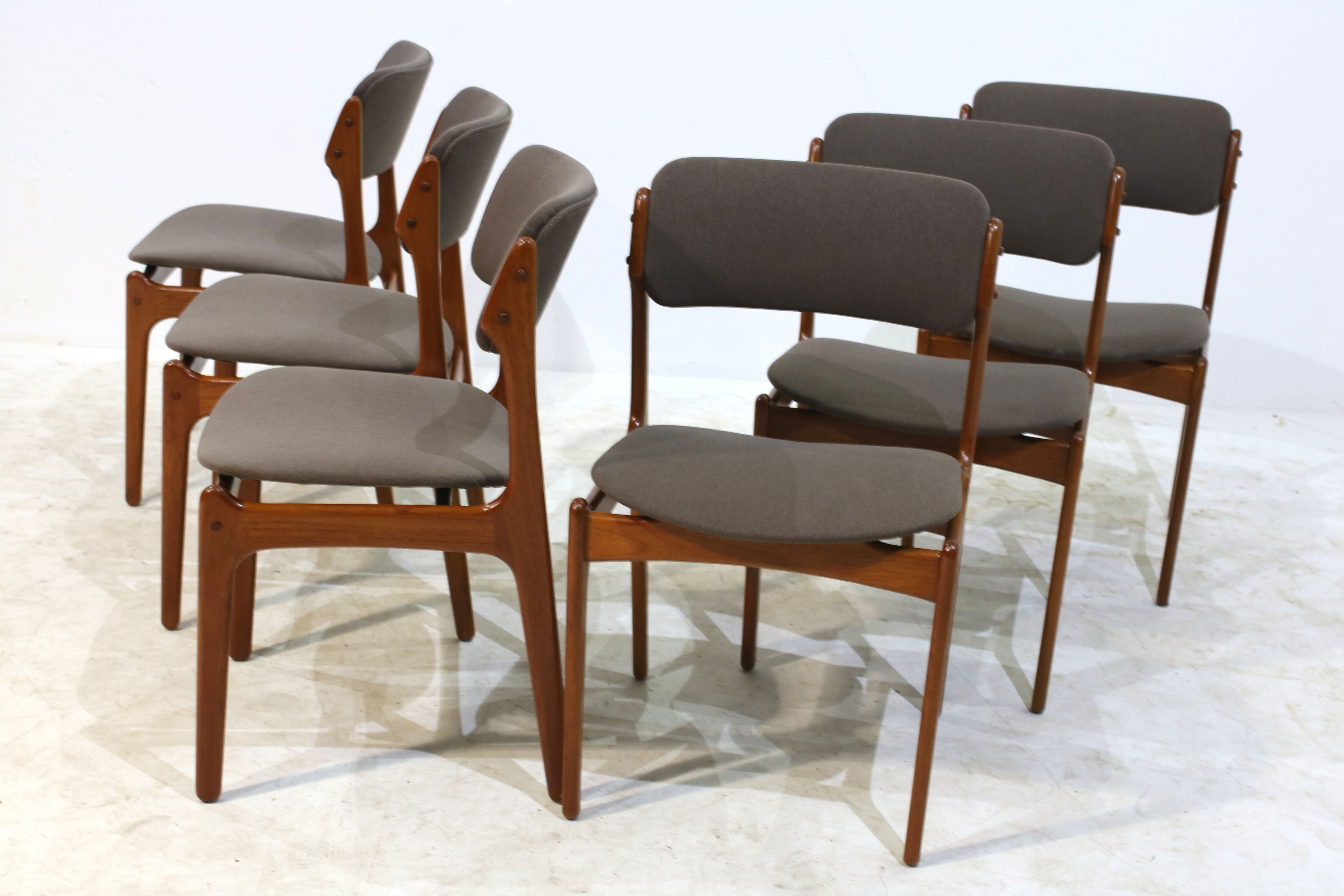 Set of 6 teak dining chairs by Erik Buch for Oddense