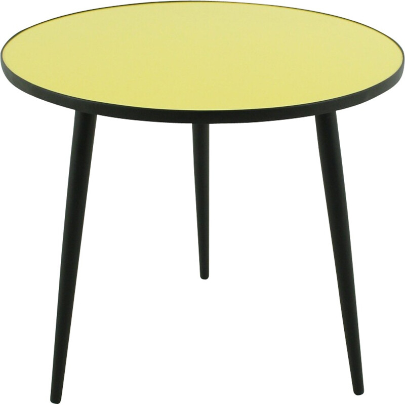 Round yellow and black coffee table - 1950s