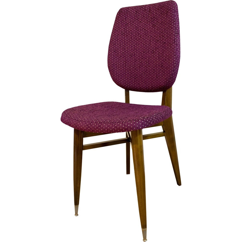 Pair of chairs walnut structure and purple fabric, France - 1960s