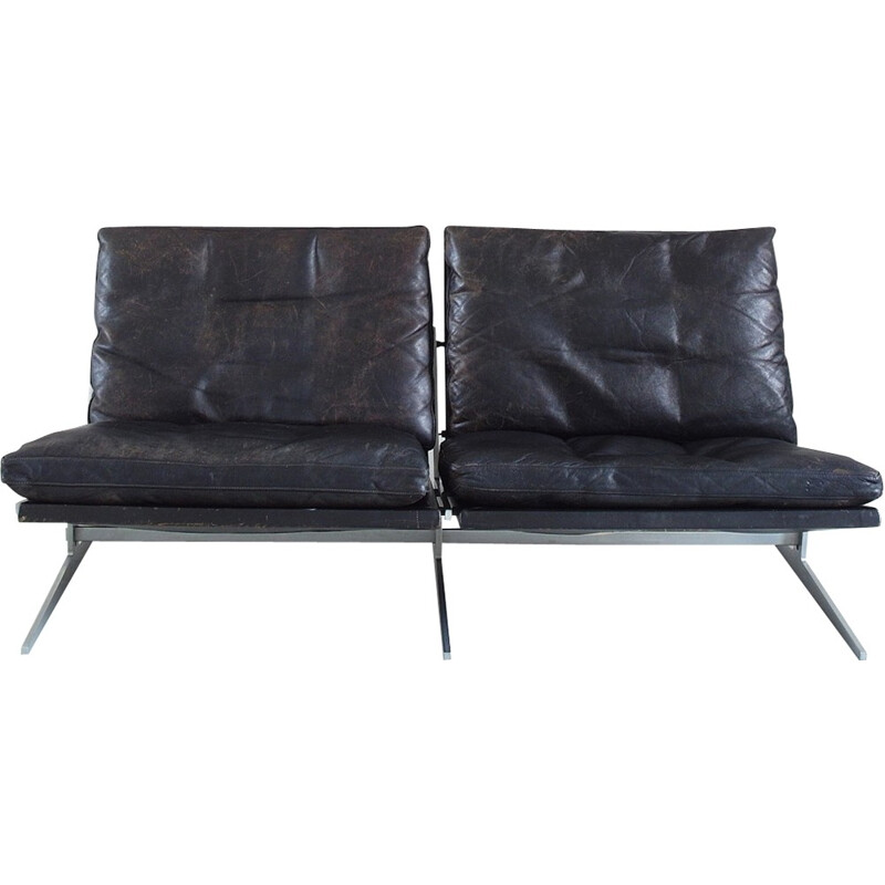 Fabricius and Kastholm black leather two-Seat Sofa for Bo-Ex, Denmark - 1960s