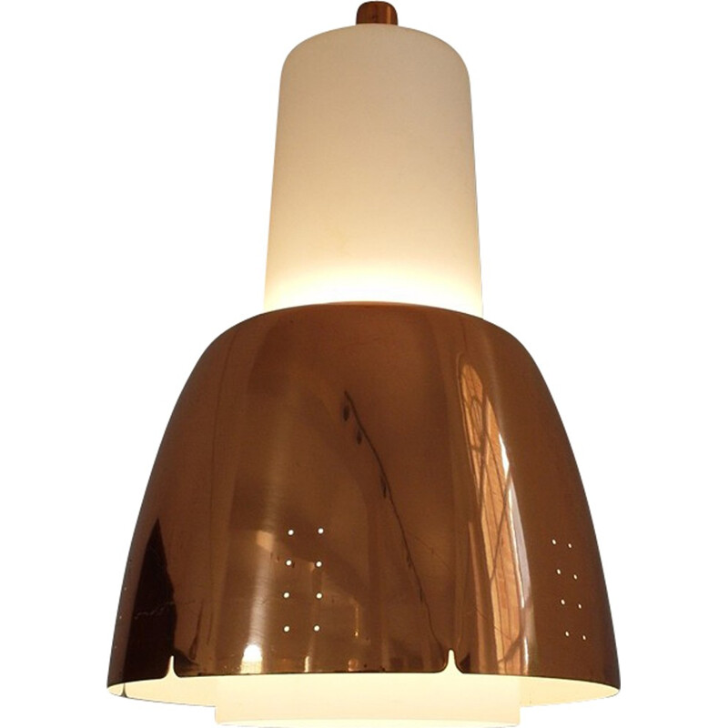 Model K2-16 Copper and Opaline Glass Pendant by Paavo Tynell for Idman, Finland - 1950s