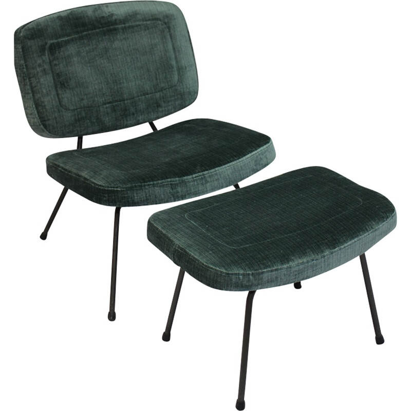 CM 190 model low chair and its ottoman by Pierre Paulin for Thonet - 1950s