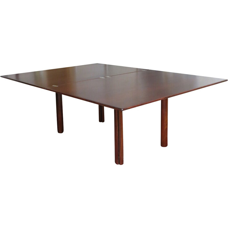 Dining table in rosewood with extension, system in 'throttle' - 1980s