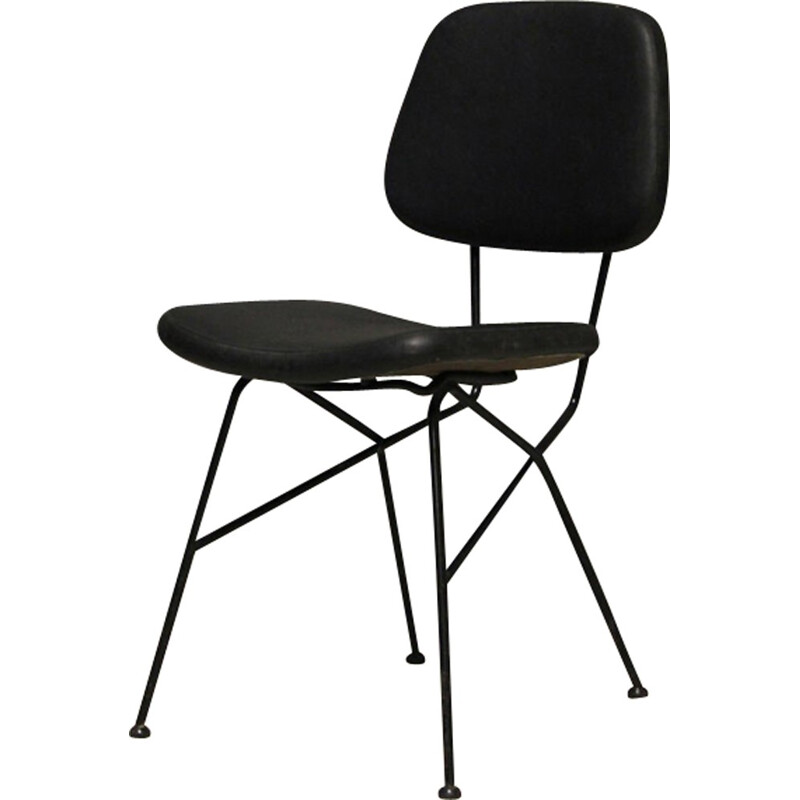 Black Cocorita  chair in leatherette and steel by Gastone Rinaldi for Velca - 1950s