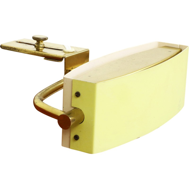 Yellow white bedside clamp light by Jacques Biny for Lita France - 1950s