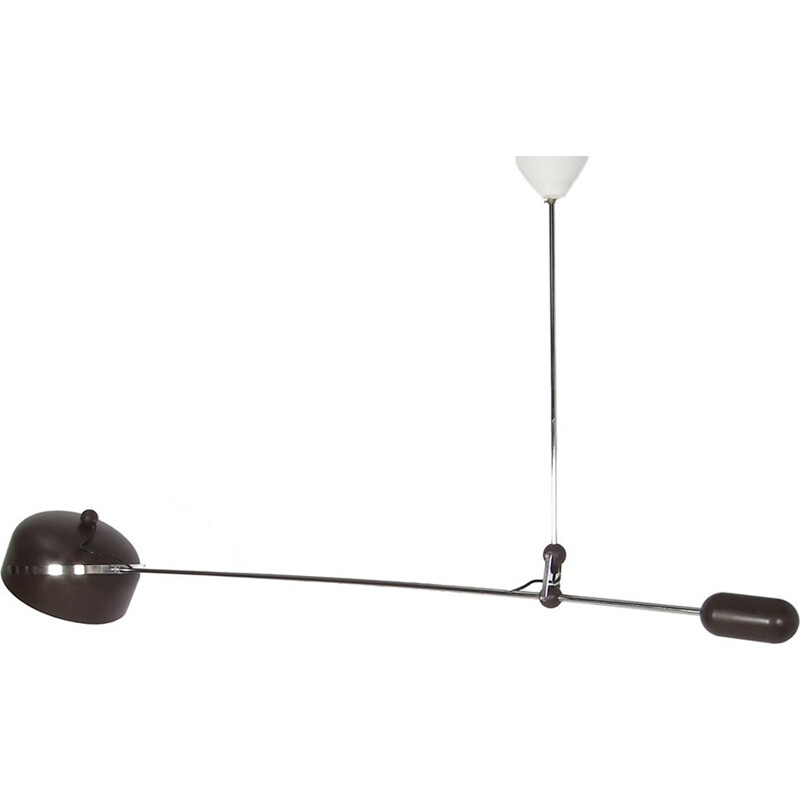 Dark brown hanging lamp by Hoogervorst for Anvia - 1960s