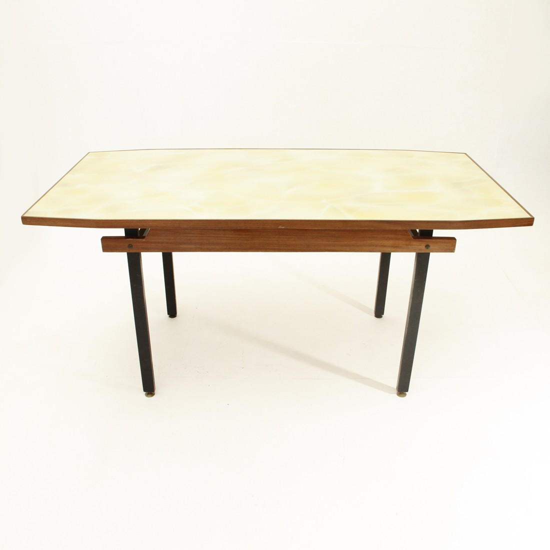 Italian Dining Table In Metal With Yellow Glass Top