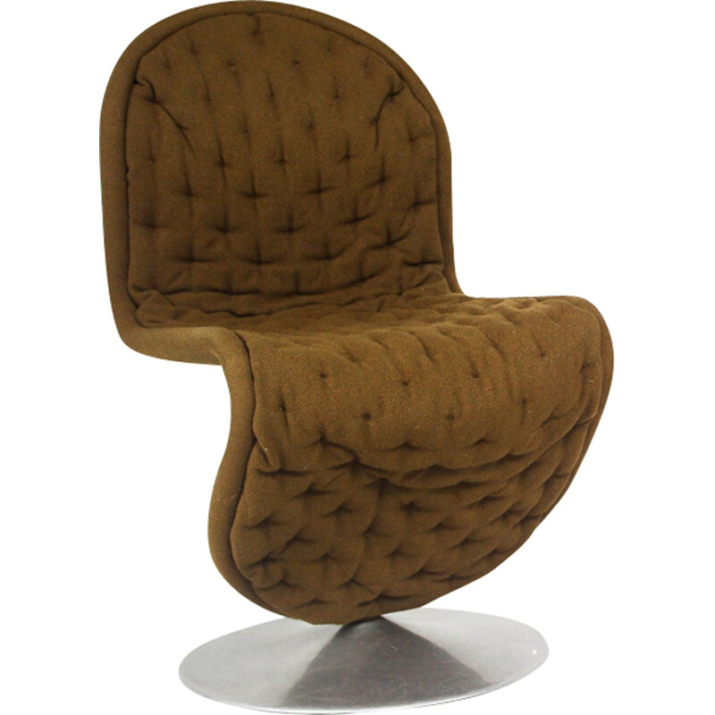 Pair of brown chairs in wool and metal model 123 by Verner Panton for Fritz Hansen - 1960s