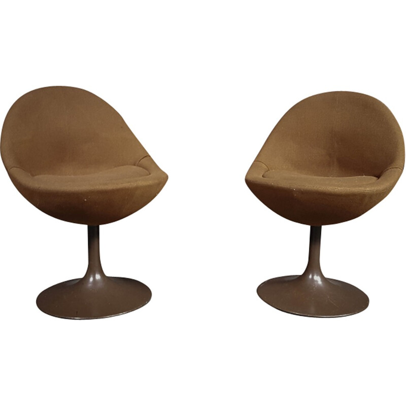 Pair of brown scandinavian armchairs by B. Johanson - 1960s
