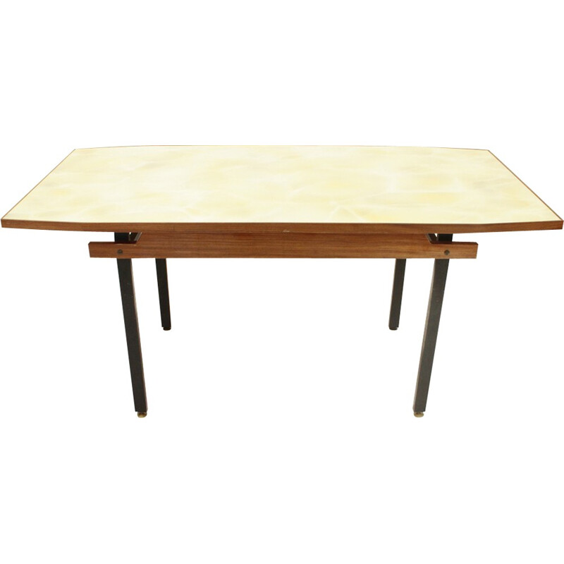 Italian dining table in metal with yellow glass top - 1960s