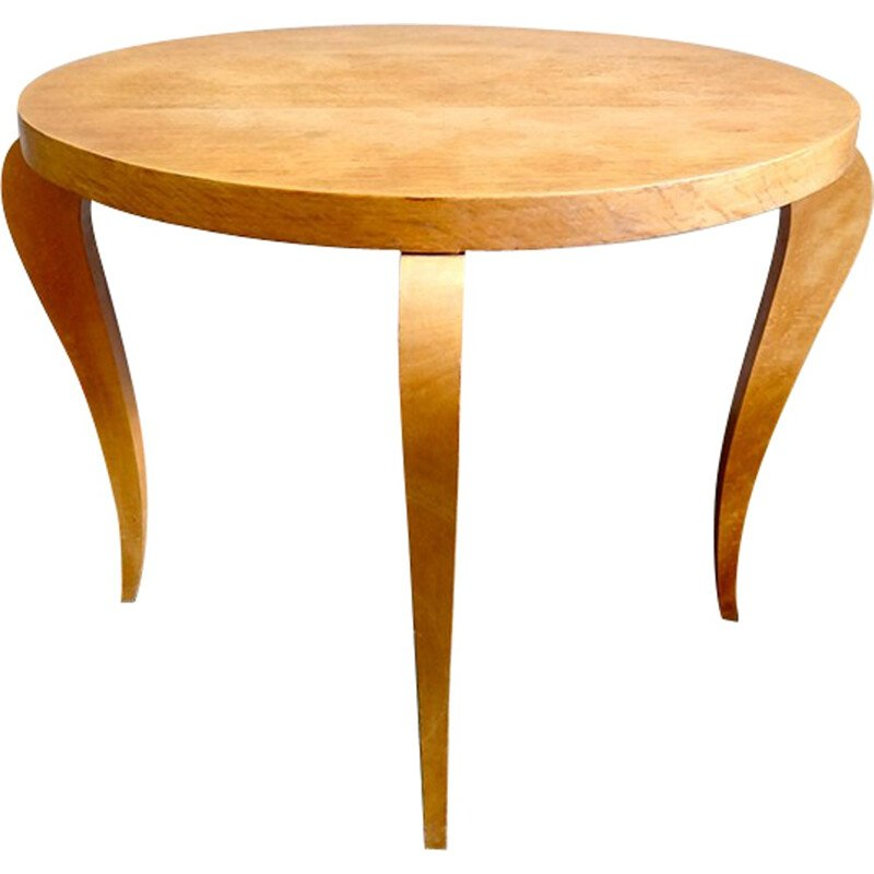 Round coffee table in light wood - 1960s