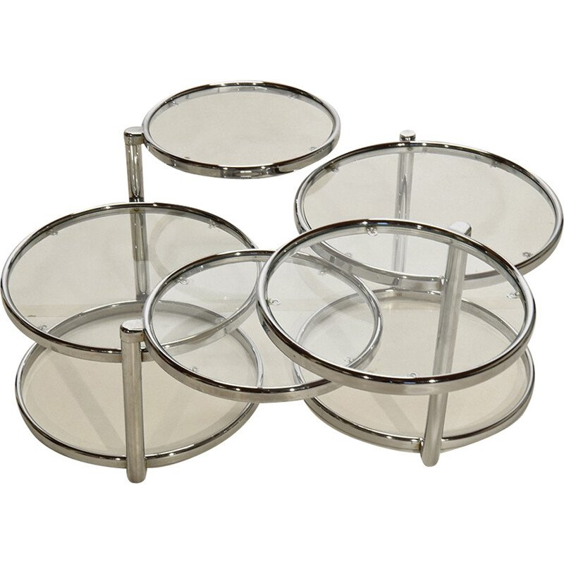 Set of 2 chrome and glass round coffee tables - 1980s