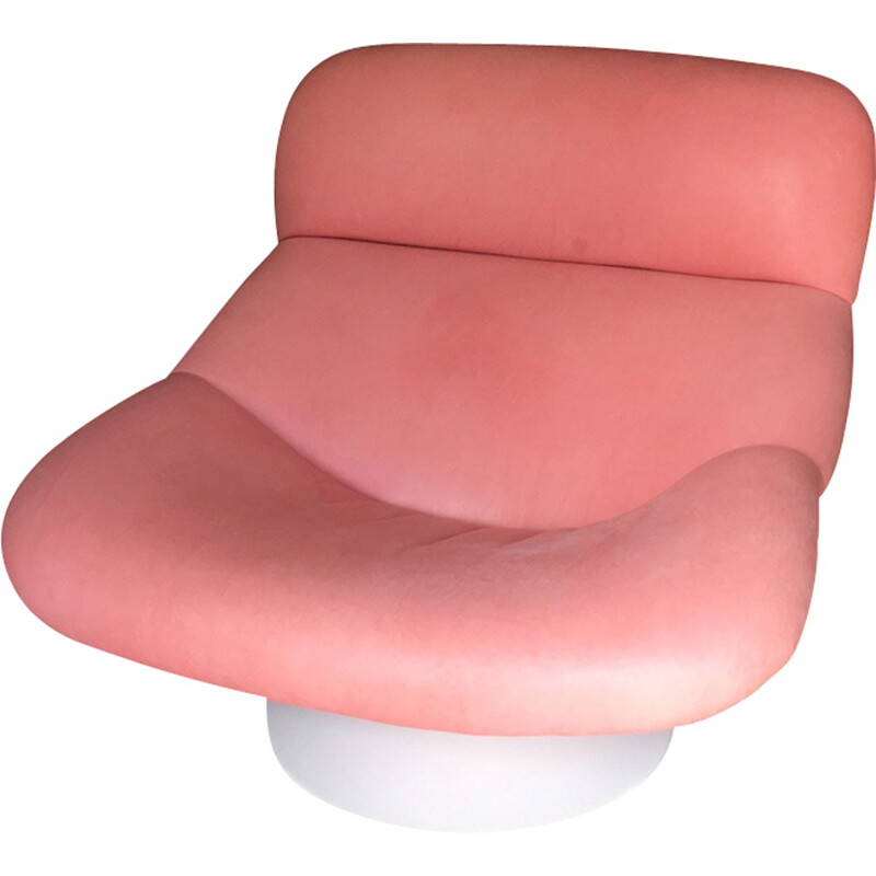 Pink easy chair in leather and metal by Geoffrey Harcourt produced by Artifort - 1970s