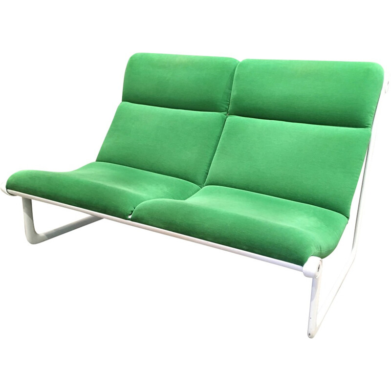 2-seater green sofa by HANNAH MORRISON for KNOLL INTERNATIONAL - 1970s