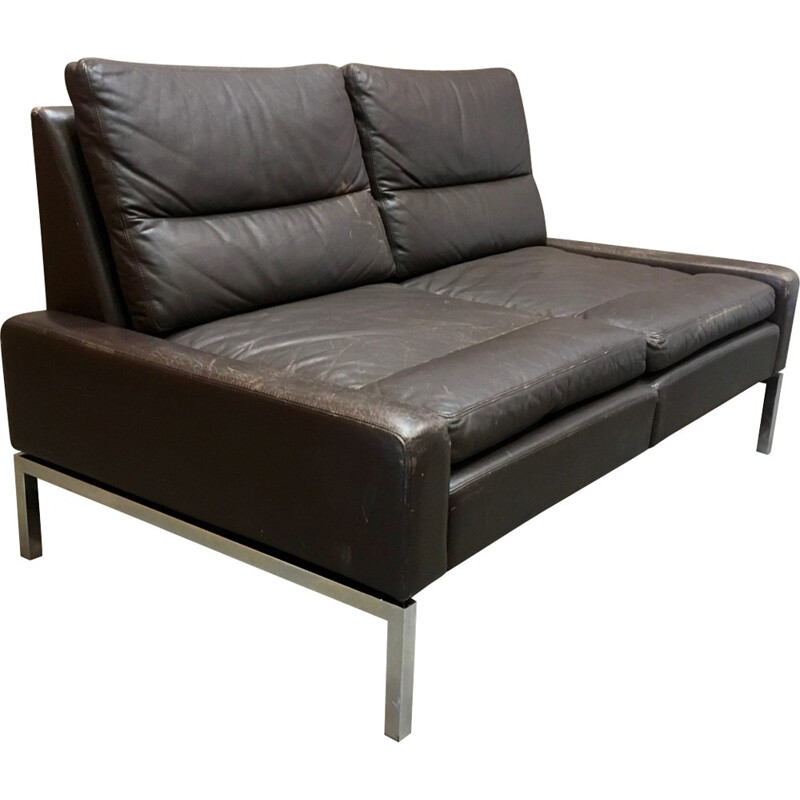 2 seater leather and chromed metal sofa - 1960s
