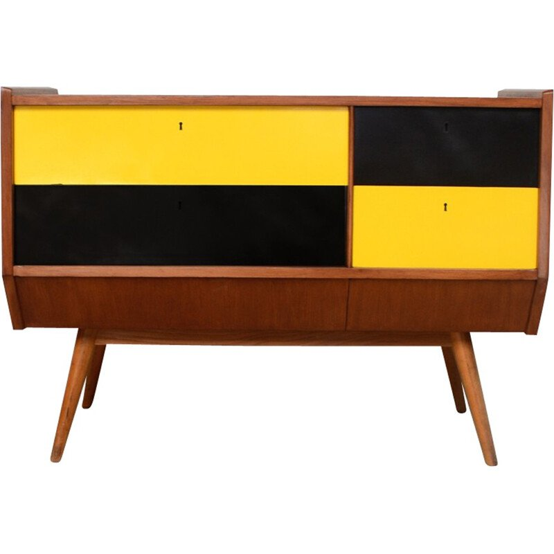 Vintage relooked yellow & black chest of drawers - 1950