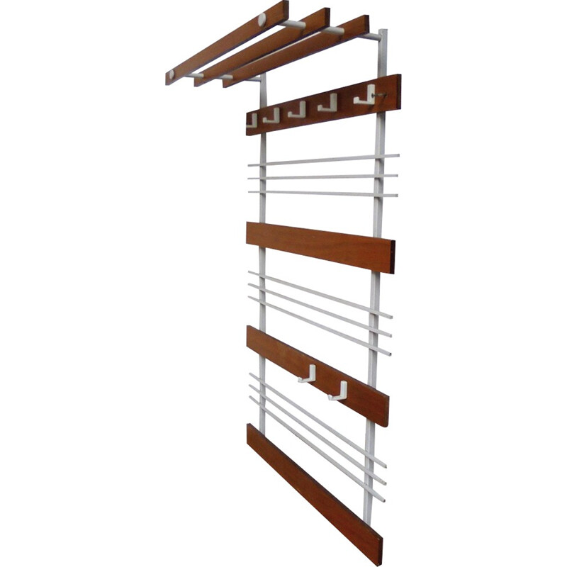 Coat rack in white and wood - 1950s