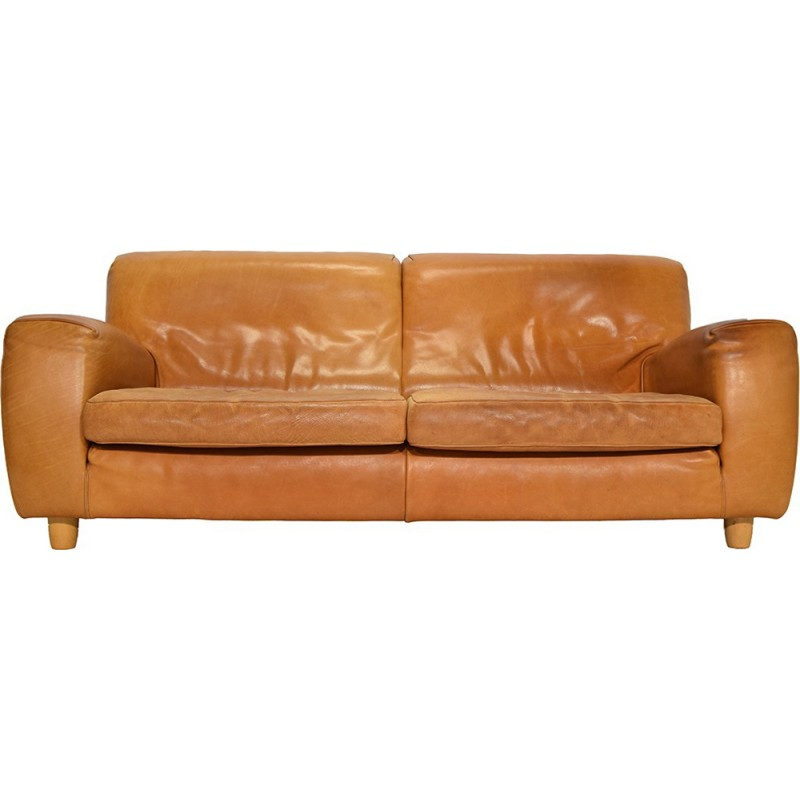 Fatboy Cognac Leather Sofa From Molinari - 1980s