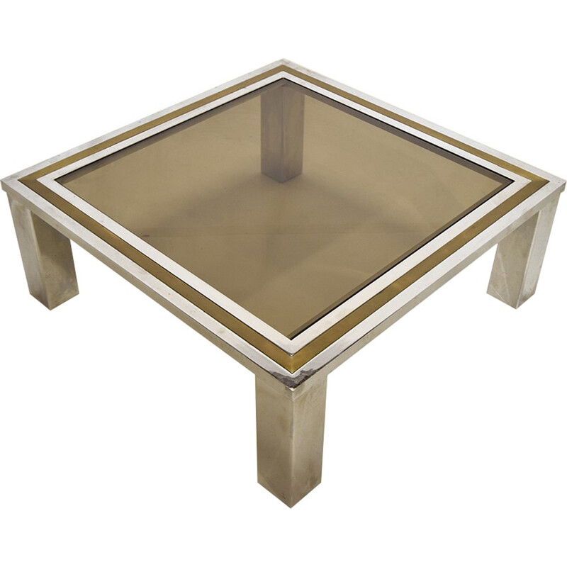 Brass and chrome coffee table - 1970s