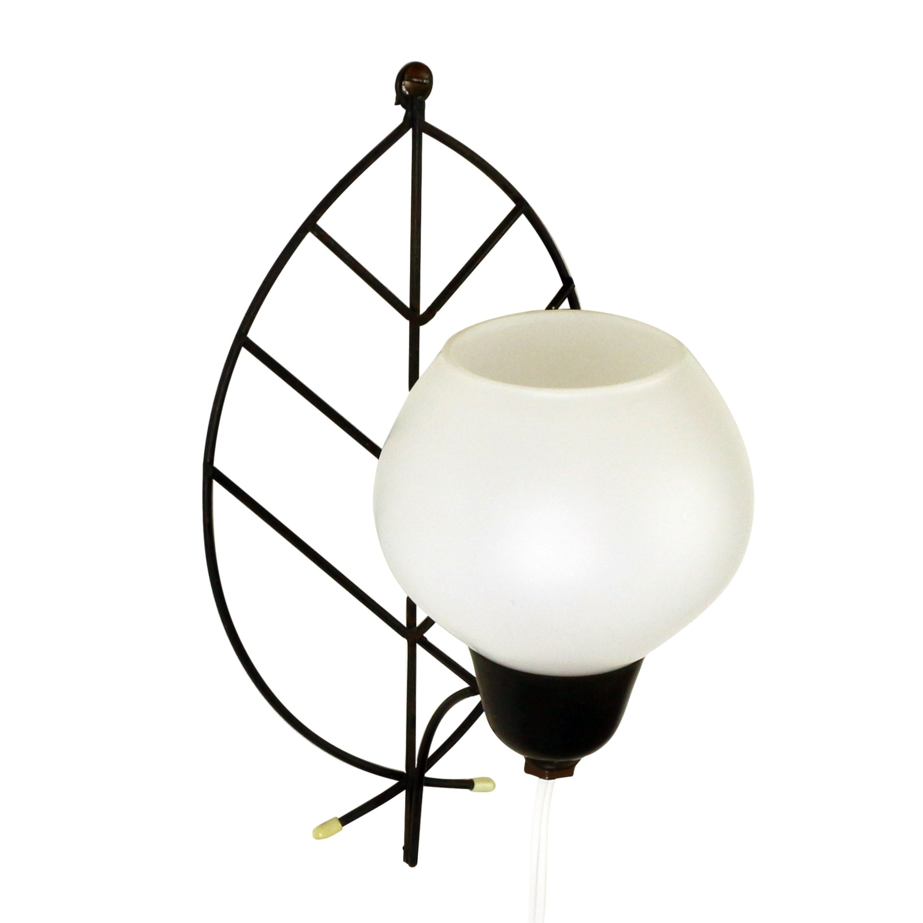 Wall lamp with leaf arm and glass bowl 1960s Design Market