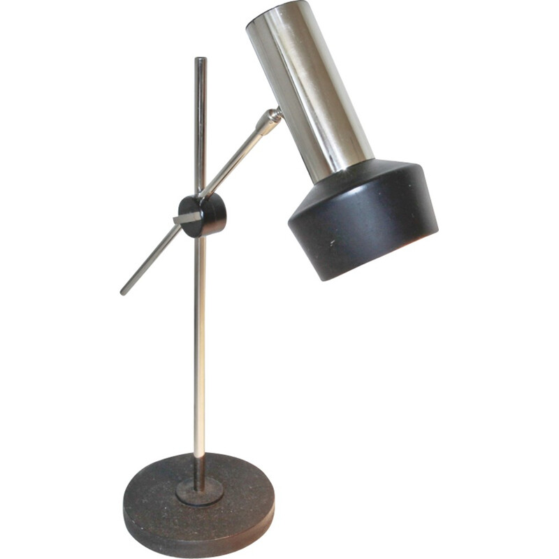 Mid century chrome and black metal table lamp - 1960s